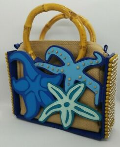 Vintage Michael Simon NY Blue Sea Star Starfish HandBag Bag Purse Beaded Beads