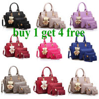 Fashion Women PU Leather Handbag Set Shoulder Tote Crossbody Bags Purse Bag
