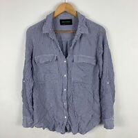 Decjuba Womens Blouse Top 8 Blue Striped Long Sleeve Collared Button Closure