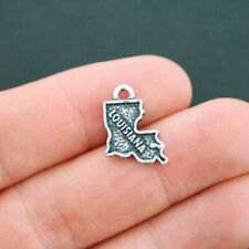 SC5197 4 Idaho Charms Antique Silver Tone 2 Sided Idaho State Charms