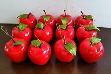 """Vintage Red Apples 2"""" Christmas Ornaments Lot of 12 Green Leaves Gold Hangers"""