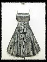 dress190 Grey 50s Flock Tattoo Rockabilly Cocktail Vintage Party Prom Dress 8-26