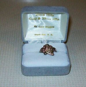 Gold Diggers Black Hills Gold Silver 10K Rose Green Gold Leaves  Sterling Ring