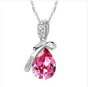 Rose Crystal Water Drop Pendant Chain Necklace Silver Choker For Womens