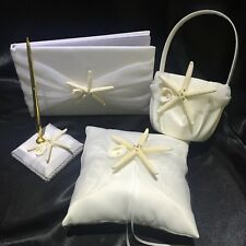 Wedding Guest Book Pen Set Ring Pillow Girl Flower Basket Ivory Starfish Beach