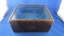 ancien grand coffret coffre a bijoux boite vitré capitonné epoque 1900