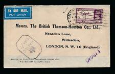 INDIA WW2 AIRMAIL SINGLE FRANKING CENSORED PRINTED ENV +LABEL THOMSON HOUSTON CO