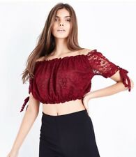 a544df68fe283 New Look - Cameo Rose Burgundy Lace Bardot Crop Top - Size 10 - BNWT