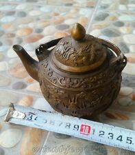 Chinese Bronze Wine Flagon / Tea Pot with Dragon & Phoenix Sculpture
