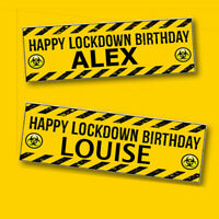 Lockdown Birthday Banner Bunting Personalised Printed Decor Party Celebration UK