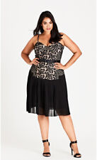 City Chic XL 22 Obey Me Black Nude Formal..