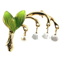 Fashion Gold Tone Lily of the Valley Faux Pearl Brooch Pin Clothing Accessory D