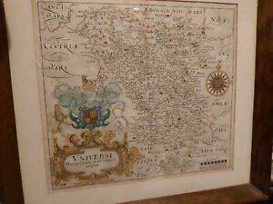 Rare antique map Derbyshire 1637 Camden's Britannia aft William Hole William Kip