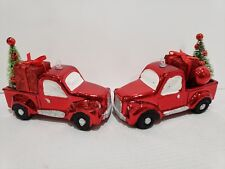 Christmas Farmhouse Red Vintage Truck Christmas Tree Ornaments Decor set of 2