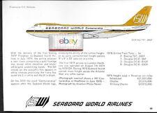 SEABOARD WORLD BOEING 747-245F #N701SW D.C.NICHOLS TECH DRAWING & HISTORY 1977