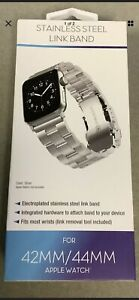 WITHit Silver Stainless Steel Link Band For Apple Watch 42mm/44mm New Free Ship