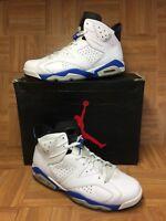 RARE🔥 Nike Air Jordan 6 VI Sport Blue White Black Leather Sz 14 384664-107 LE
