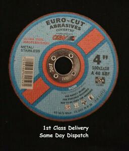 10 x euro-cut steel metal extra thin cutting discs 4'' 100mm x 16mm x 1mm