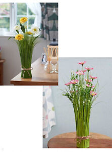 Faux Yellow or Pink Floral Bouquets, Stunning, Indoor Use tied with String