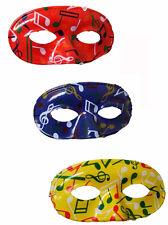 24 Loups à motifs notes de musique jaune, rouge et bleu fetes masque carnaval