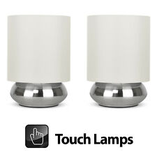 Pair of Modern Silver Chrome  Cream Touch Lounge  Bedside Table Lights Lamps