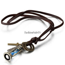 """Men Women Vintage Leather Necklace """"The Magic Lamp"""" Hourglass Cross Pendent Gift"""
