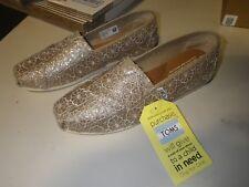 Toms Classic Rose Gold Crochet Glitter Women Size 8.5 Medium New in Box!
