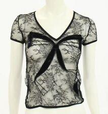 Beautiful Designer ROBERTO CAVALLI Ladies Lace & Velvet Trim S/S Top 42  ITALY