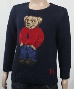 Ralph Lauren Navy Blue Cotton Crew Neck Infant Teddy Bear Sweater NWT