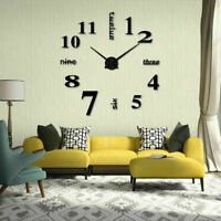 Wall Clock Watch Large Modern Mirror Simple DIY Sticker Decal 3D Home Decoration