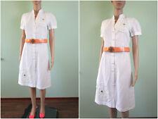 H&M Womens White Retro Vtg Hand Custom Embellished Linen Midi Dress sz 34 AW52