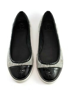 Tory Burch Ballet Flat Sneaker Quilted Gray Black Patent Cap Toe Size 7 M