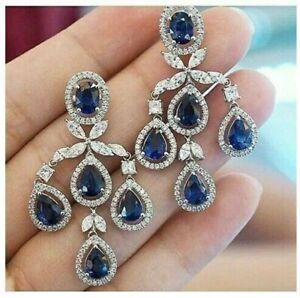 19Ct Pear Blue Sapphire Synt. Diamond Chandelier Earrings White Gold Fnsh Silver