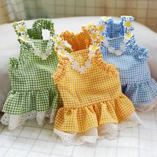 Pet Clothes New Summer Sun Flower Grid Skirt  Lace Princess Dress Dog Cat Outfit