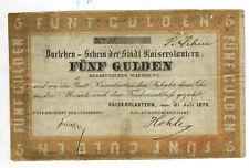 5 Gulden 1870 Darlehen Schein der Stadt Kaiserslautern Rheinland  Pfalz  ( 809