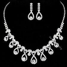 Bridal Wedding Jewelry Prom Rhinestone Crystal Necklace Earrings Set N310