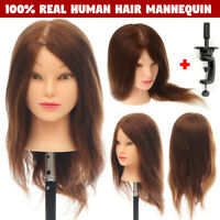 18'' 100% Real Human Hair Mannequin Head Hairdressing Training Head Model  A