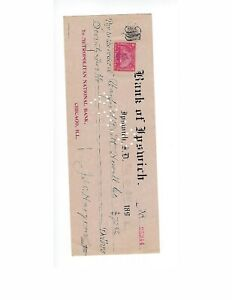 U.S. BANK CHECK BANK OF IPSWITCH  SOUTH DKOATA  1898    F-VF