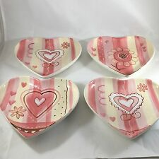 Mesa International Valentines Pink White Heart Shaped Appetizer Plates Set of 4