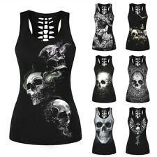 Women's 3D Printed skull Vest Sleeveless Shirts Fashion Casual Ladies Tank Tops