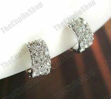 Womens Ear Cuff Earrings Clip On Crystal Silver Rhinestone Fake Stud Non Pierced