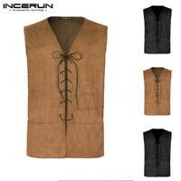 Mens Womens Medieval Pirate Waistcoat Steampunk Gothic Vest Costume Renaissance