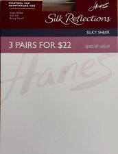 zHANES Silk Reflections Silky Sheer Control Top Reinforced Toe JET EF 3 Pairs/Pk