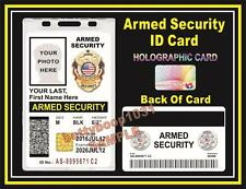 ARMED SECURITY GUARD ID Badge / Card CUSTOM W YOUR PHOTO / INFO - Tactical - PVC