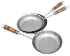 "Spun Steel Skillet Wood Long Handle Frypan 9"" Camping Campfire Cooking Kitchen"