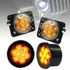 Amber LED Front Turn Signal Light Fender Side Marker Lights for Jeep Wrangler JK