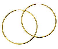 """14K Real Yellow Gold 2mm Polished Extra Large Endless Hoop Earrings 60mm 2-3/8"""""""