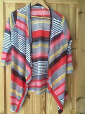 Ladies Xl Size 16 Striped Open Cardigan Red Mustard Brown Colours