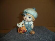 "Vintage Home Interior Figurine ""Blue Boy with Dog"" #1439"