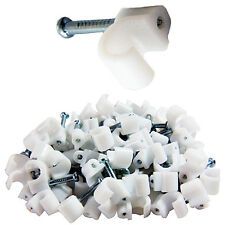 100x 3-4mm White BT Telephone/Phone Line Round Cable Clips - For 2 & 3 Pair Wire
